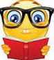 smiley face reading book